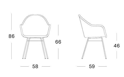 Edgard dining chair steel A base