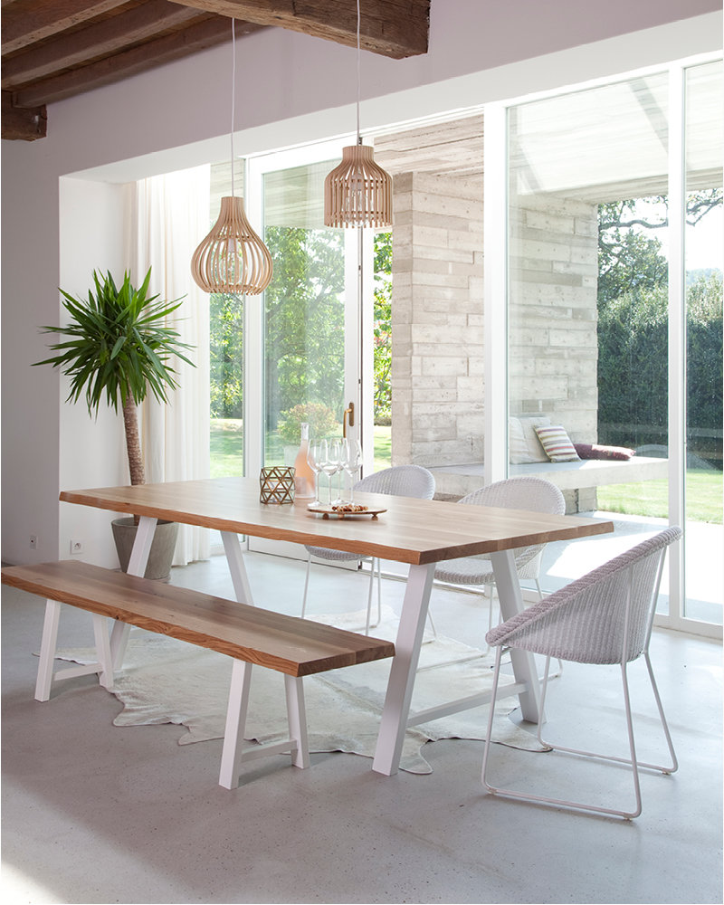 Vincent-Sheppard-Joe-dining-chair-white-sled-base-Albert-dining-table-A-base-Albert-bench